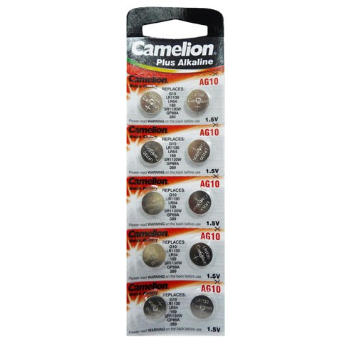 Батарейка CAMELION AG10/G10/LR1130/LR54/189/SR1130W/GP89A/389 алкалиновая (блистер)