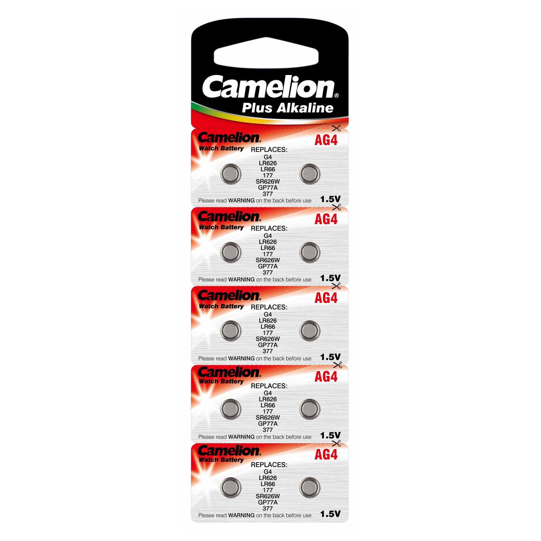 Батарейка CAMELION AG4/LR626/LR66/177/SR626W/GP77A/377 алкалиновая (блистер)