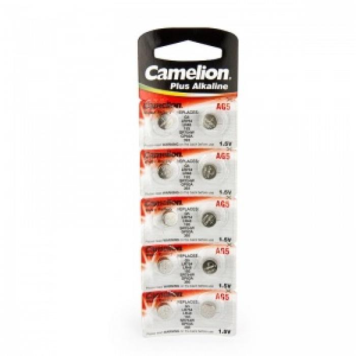 Батарейка CAMELION AG5/G5/LR754/LR48/193/SR754W/GP93A/393 алкалиновая (блистер)