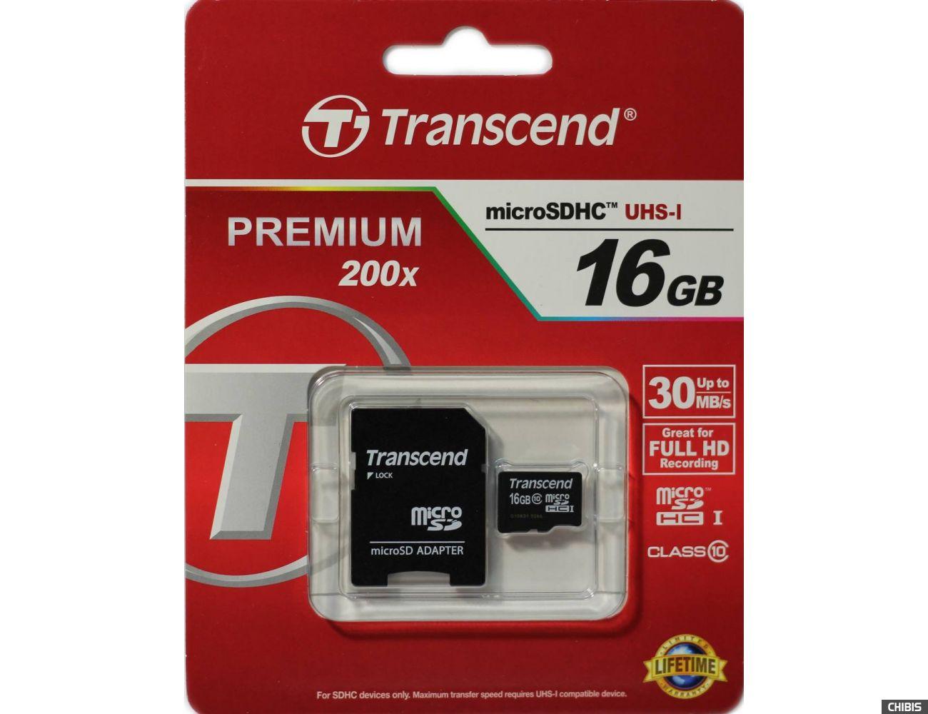 Карта памяти TRANSCEND microSDHC 16Gb + адаптер SD 10 класс
