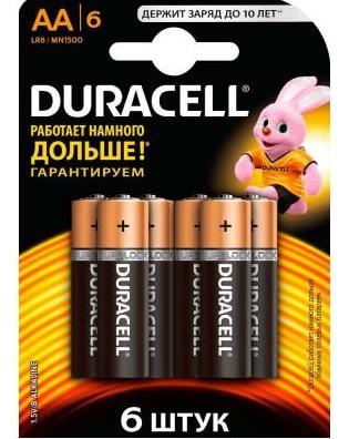 Батарейка DURACELL LR6/AA 6шт алкалиновая (блистер)