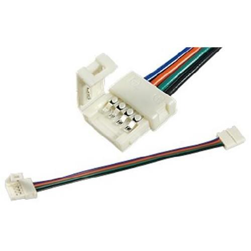 Коннектор для светодиодной ленты RGB с проводами двойной 10мм для закрытой ленты