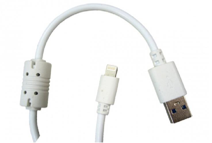 USB-кабель для iPHONE5/iPAD Mini/iPAD с ферритом белый 1.5м