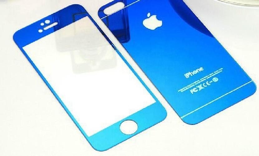 Защитное стекло GLASS для iPhone 6+ двойное зеркальное 0.26mm синяя