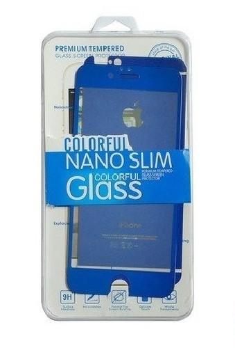 Защитное стекло GLASS для iPhone 4 двойное зеркальное 0.26mm синее