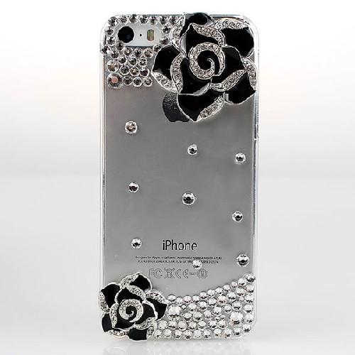 Защитное стекло GLASS для iPhone 4 двойное перламутровое 0.26mm цветы со стразами
