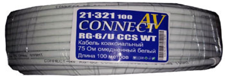 Кабель коаксиальный CONNECT RG-6/U ccs wt 75 Ом омедненный белый