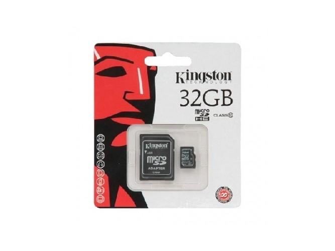 Карта памяти KINGSTON microSDHC 32Gb + адаптер SD 10 класс