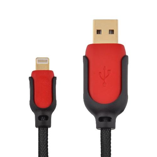 USB-кабель для iPHONE 5 R10 резиновый красно-черный  (тех/упаковка)
