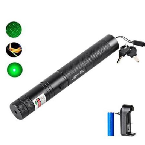 Лазер зеленый GREEN LASER POINTER 303 2000mW + АКБ 18650 6800mAh 3.7V + СЗУ + ключи в коробке