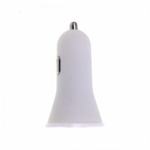 Адаптер авто-USB AKFA-TECH 5V 1A+2.1A белый (тех/упаковка)
