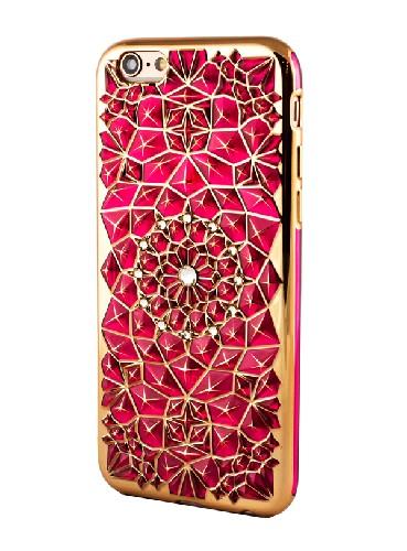 Накладка для iPHONE 5G силиконовая цветок в виде кристаллов со стразами розовый