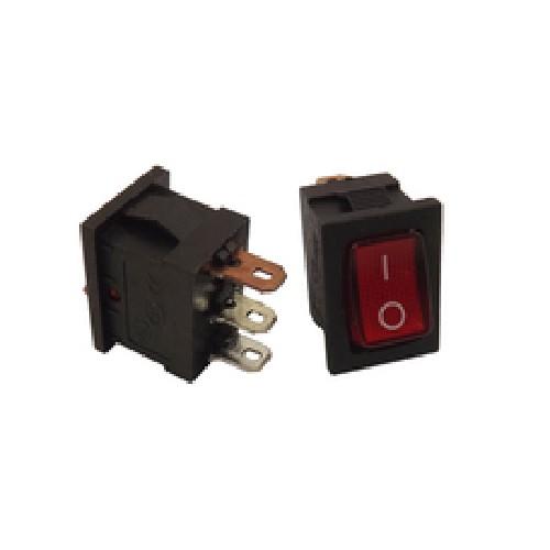 Переключатель электрический клавишный KCD1-106 6A 250V прямоугольный красный