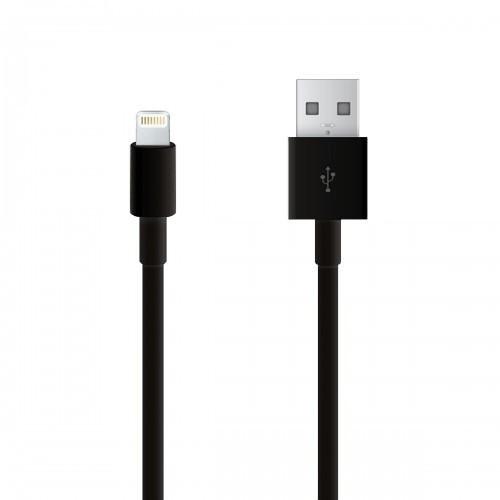 USB-кабель для iPHONE 5 резиновый 1.2м черный (тех/упаковка)