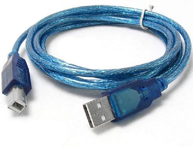 """Шнур USB A """"шт""""  - B """"гн"""" для принтера в силиконе синий 1.5м"""