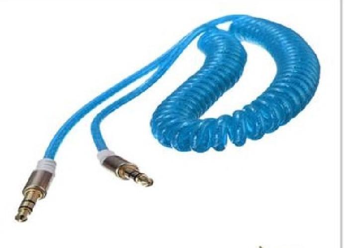 "Шнур AUX 3.5мм ""шт"" стерео - 3.5мм ""шт"" стерео гелевый спираль голубой"