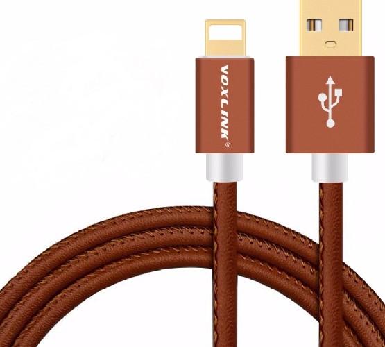 USB-кабель IPHONE 567 HY-C32 2в1 кожа коричневый (блистер)