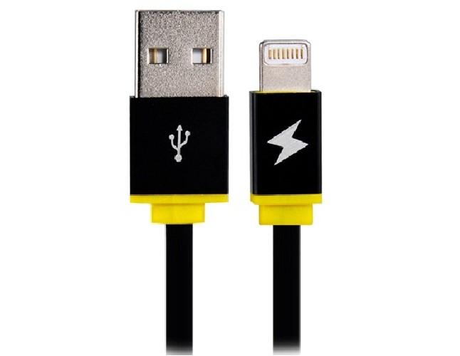 USB-кабель для iPHONE 5 резиновый черно-желтый