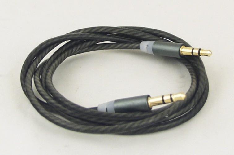 """Шнур AUX 3.5мм """"шт"""" стерео - 3.5мм """"шт"""" стерео крученый с силиконовым покрытием серый (ароматиз)"""