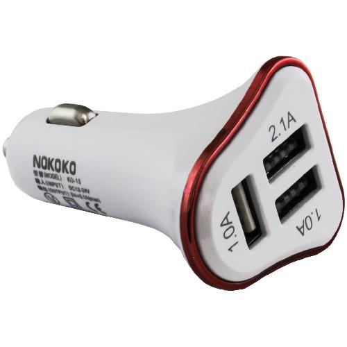 Адаптер авто-3xUSB NOKOKO KO-15 5V 3.1A  белый (тех/упаковка)