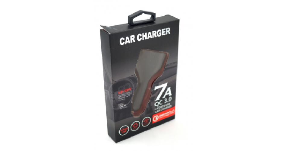 Адаптер авто-4xUSB CAR CHARGER LZ-KC08 7A 3.0  (коробка)