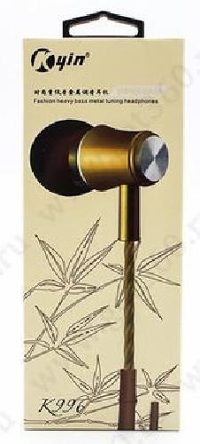 Гарнитура KYIN K-996 MP3/iPod джек 3.5 стерео + микрофон золото