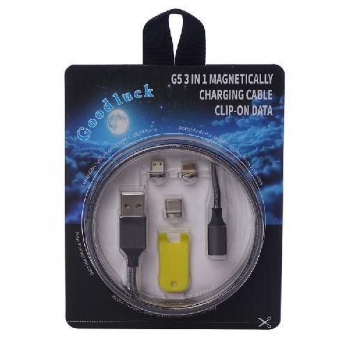 USB-кабель iPHONE 5 GOODLUCK G5 3в1 магнитный черный