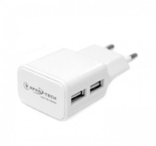 Адаптер сеть-2xUSB AFKA-TECH 5V белый (коробка)