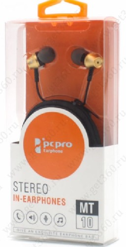 Гарнитура PCPRO MT-10 MP3/iPod джек 3.5 стерео золото + чехол (коробка)
