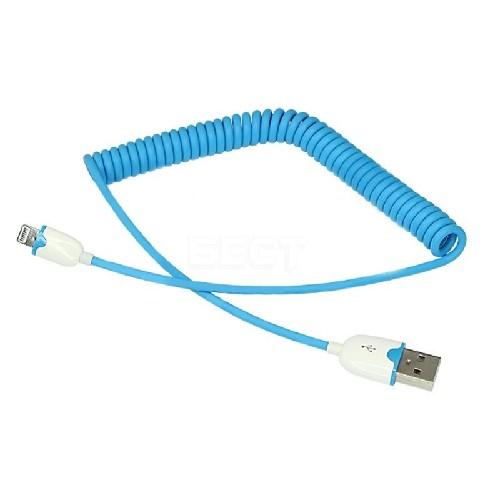 USB-кабель для iPHONE 5 резиновый спираль голубой
