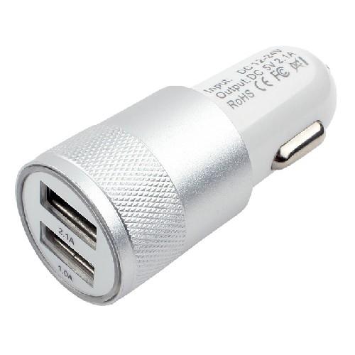 Адаптер авто-2xUSB KO-32 5V 2.1A серебро (тех/упаковка)