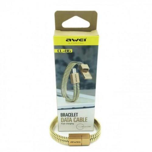 USB-кабель micro-USB AWEI 0,22м CL-86 браслет (серебро)