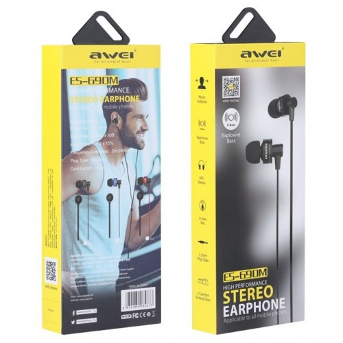 Гарнитура AWEI ES-690M MP3/iPod джек 3,5 стерео черный