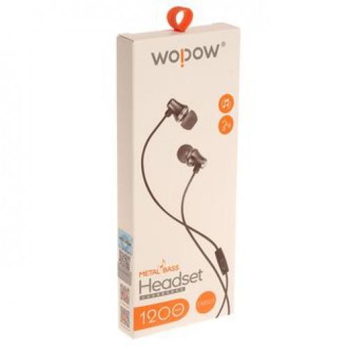 Гарнитура WOPOW AU-08 MP3/iPod джек 3.5 стерео черный